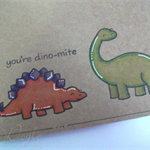 Diary - Journal - Hand stamped - Customisable - Dinosaurs