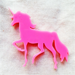 Laser cut pink unicorn brooch