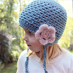 crochet beanie | little girl | aquamarine blue wool bamboo | flower clip detail