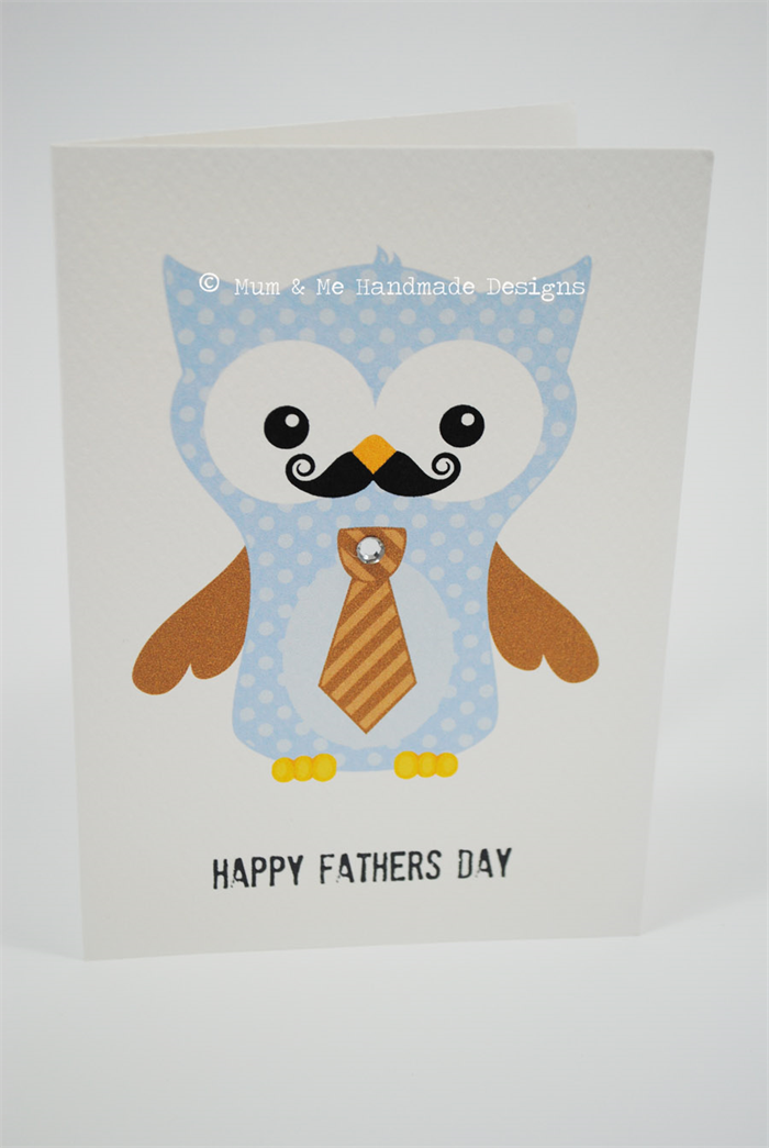 Happy Father's Day Card - Owl Dad with Tie