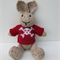 Hand Knitted Pirate Bunny Toy with Red Skull and Crossbones Jumper