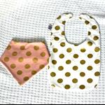 Bib combo two bibs bandana and feeding gold polka dot