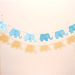 Cake Bunting/Cake Topper Baby Elephant, Blue. Baby Shower/Gender Reveal/Fi