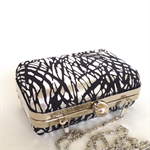 Clamshell / box clutch purse - black and silver with silver frame