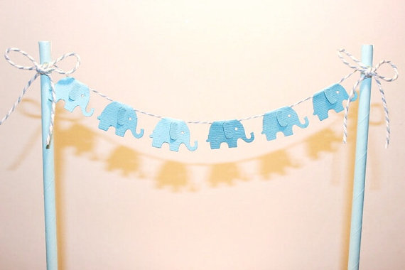 Cake Bunting Cake Topper Baby Elephant Blue Baby Shower