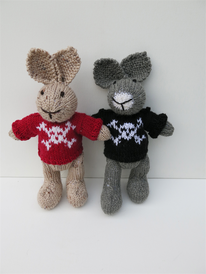 Knitting Pattern Pirate Jumper : Hand Knitted Pirate Bunny Toy with Red Skull and Crossbones Jumper SamandCh...