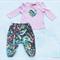 Pink and navy blue Harem pant top set girl