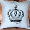 """Hand Painted Baby Blue Crown Cushion Cover 14"""""""
