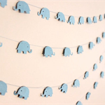 Paper Garland, Baby Blue Elephants. Baby Shower/Baby Nursery.