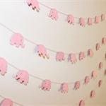 Paper Garland, Baby Pink Elephants. Baby Shower/Baby Nursery.