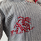 minicouture grey and white stripe jacket with red dragon embroidery