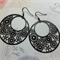 Black Gogo Flower Filligree Earrings