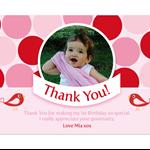 Printable Birthday Party Thank you Card - Polka Dot
