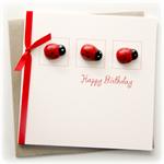 Happy Birthday card 3 ladybugs ladybird for her teen