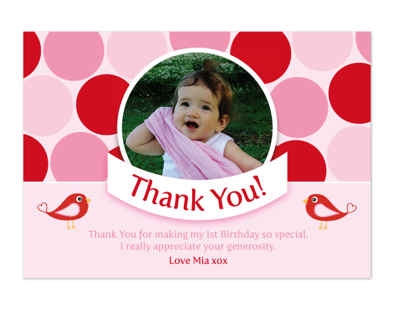 Printable Birthday Party Thank you Card Polka Dot – Thanks for Birthday Card