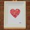 Hand-stitched artwork - Pink Love Heart Button Art