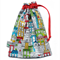 Toy Bag. Drawstring Pouch. Fully Lined Bag. Colourful City Buildings Houses.