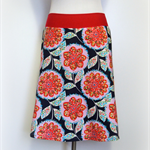 lark floral on navy aline skirt light weight 100% cotton by Wanderlust