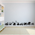 Boys Construction Zone Wall Decal Set | Digger | Tractor | Tip Truck