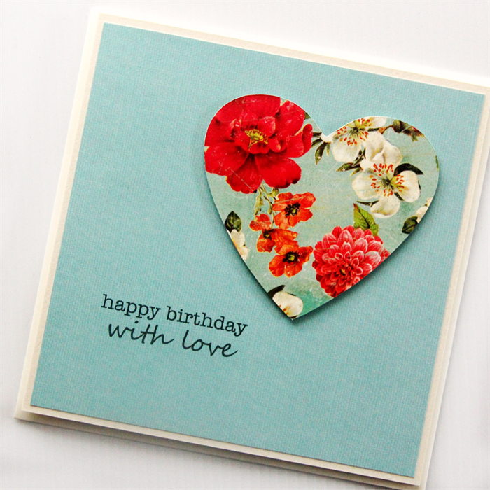 Birthday Card For Her Turquoise Floral Vintage Heart Mum Friend Sister Daughter