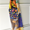 Bright boho patchwork infinity scarf, retro buttons cowl, multicolored, upcycled