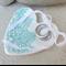 Turquoise lace porcelain heart, wedding ring dish. Aqua. Ceramic.