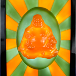 Happy Buddha wax sculpture painting framed with LED lights
