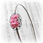 Roslyn Headband. Metal Filigree. Flower. Mid Pink. Alice Band.