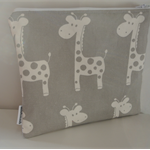 Small Zippered Wet Bag with Waterproof Lining - Grey Giraffe