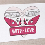 'With Love' Retro Greeting Card - Pink vintage kombi vans - Anniversary card