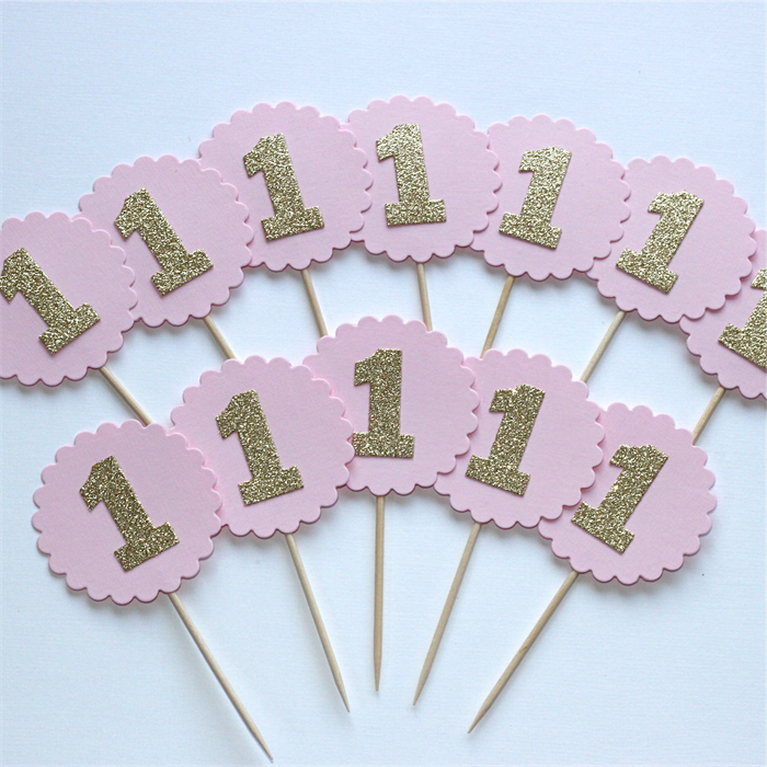 1st Birthday Cupcake Toppers Pink and Gold Glitter number one