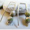 Argentium Sterling Silver range - sage green faceted Czech glass bead earrings