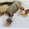 Argentium Sterling Silver range - toffee brown and blue Czech glass earrings