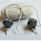 Argentium Sterling Silver range - black and silver Czech glass earrings