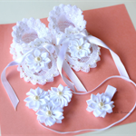 Crochet Baby Special Occasion Sandals/Booties Headband Hair Clip Set