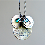Mother Hand Stamped Jewellery Message Necklace Childrens Names Peas in a Pod