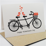 Happy Valentine's Day Card  - Tandem Bike with Love Birds and Flowers - HVD001
