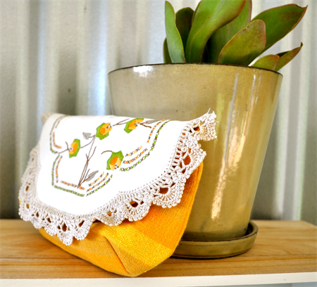SOLD ***Embroidered Retro Yellow Cheesecloth Pouch or Purse***SOLD