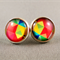 Stud Earrings - Red Geometric Glass Cabochon