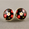 Stud Earrings - Cherry Blossom on Black Glass Cabochon