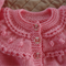 Size 12mths (+) hand knitted cardigan  in pink : OOAK, washable, acrylic