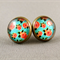 Stud Earrings - Apricot Roses on Aqua Glass Cabochon