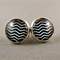 Stud Earrings - Black and White Chevron Glass Cabochon