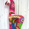 Handmade Giraffe Rattle - Pink Paisley