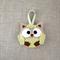 Lavender owl, sachet, felt, pistachio green, beige, ribbon