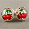 Stud Earrings - Cherry Glass Cabochon