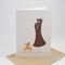 Baby Shower Card - Brown Pregnancy Dress with Teddy Bear - BBYSHW011