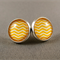 Stud Earrings - Yellow and White Chevron Glass Cabochon