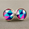 Stud Earrings - Blue and Pink Triangles Glass Cabochon
