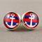 Stud Earrings - Blue and Red Anchor Glass Cabochon